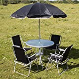 Marko Outdoor Neverre 6PC <span class='highlight'>Garden</span> Patio Furniture Set Outdoor 4 Seats Round Table Fold <span class='highlight'>Chairs</span> & Parasol