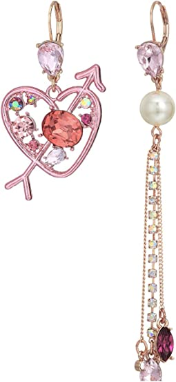Betsey Johnson - Pink Heart and Pearl Linear Non-Matching Earrings