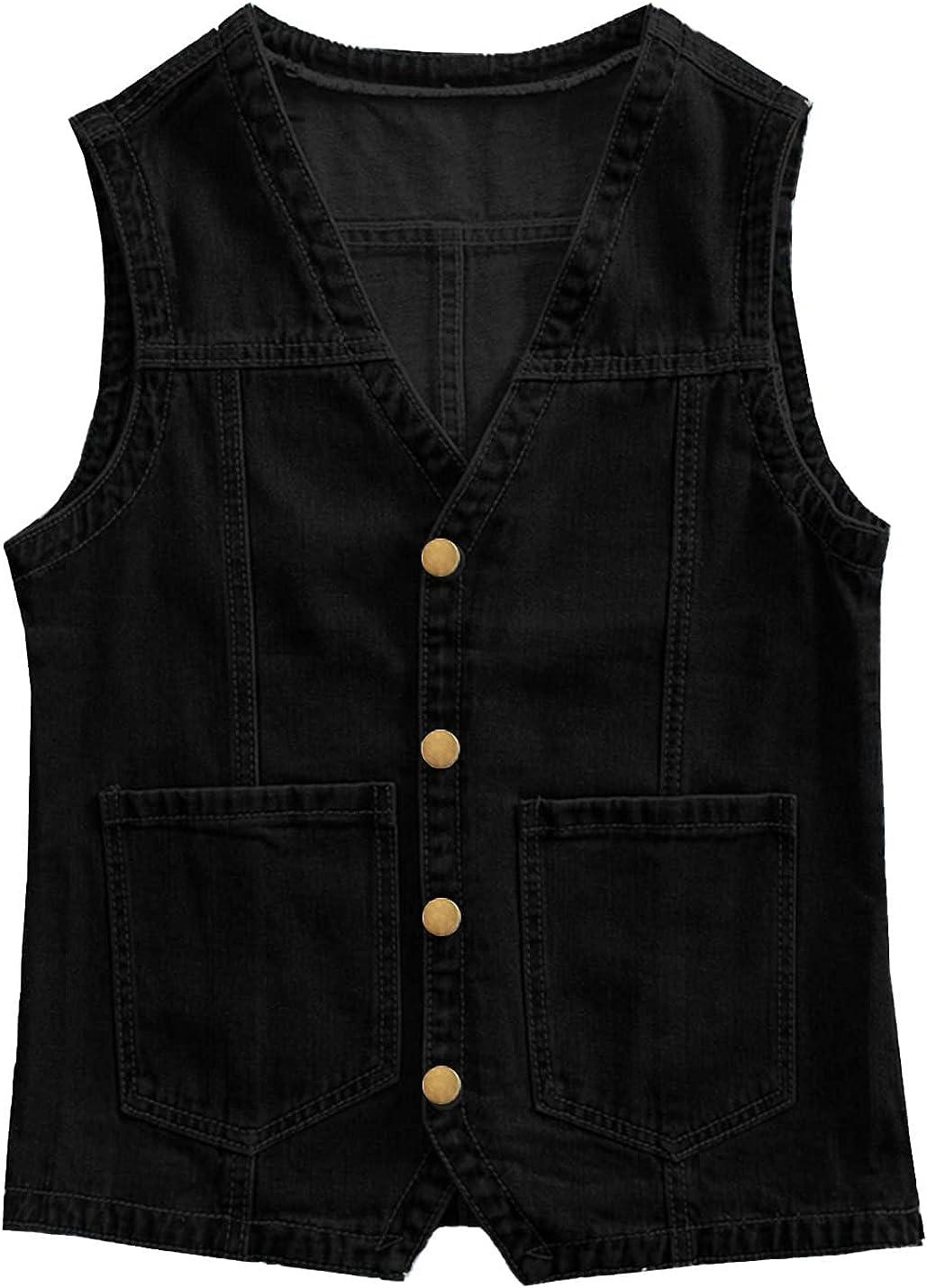 PEHMEA Women's Sleeveless Denim Vest V Neck Button Down Loose Jean Waistcoat Jacket