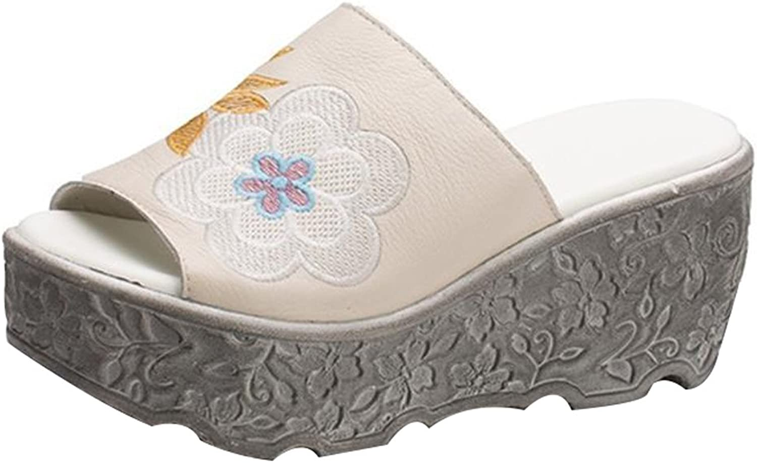 Zoulee Women's Leather Peep Toe Sandals Beach Holiday Embroidered Platform Slipper