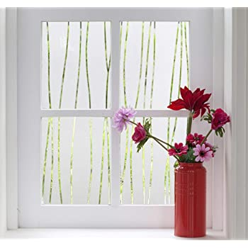 Finnez Window Film for Privacy and Light Protection | Vinyl Sticker Film Creates a Frosted Glass Look |Static Cling | Perfect for Home and Office (17.5'' x 78.7'', Irregular Stripe)
