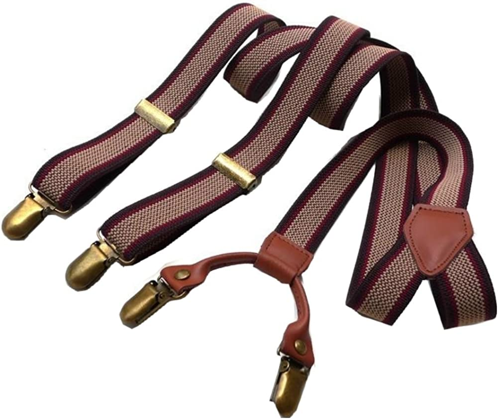 Casual Style Striped Suspenders Braces Adjustable 4 Clips Clip-on Width 0.98