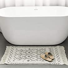 Small Rug Boho Bathroom Rug - White Laundry Kitchen Rug, Cotton Woven Tassels Geometric Tribal Knotted Cute Throw Rug 2'x...