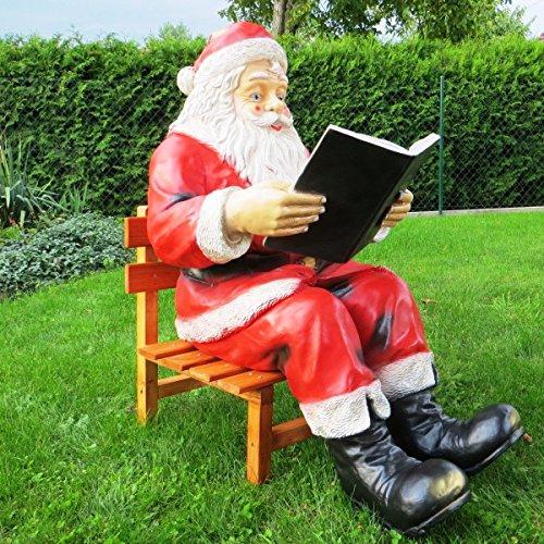 Cudek Figurenhandel XXL Premium WEIHNACHTSMANN MIT Buch UND Stuhl~LEBENSGROSS~Santa~Nikolaus~WEIHNACHTSDEKO