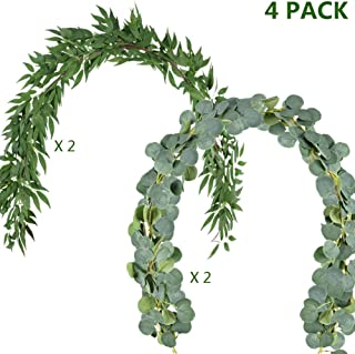 OCEANPAX 6.6ft Artificial Silver Dollar Eucalyptus and 5.9ft Faux Willow Vines Twigs Leaves Garland (2pcs Eucalyptus & 2pcs Willow)