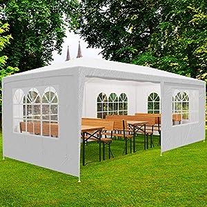 Deuba Pabellon Rimini Blanco cenador 3x6m Carpa Plegable protección UV 50 Resistente al Agua 6 Paredes jardín Eventos