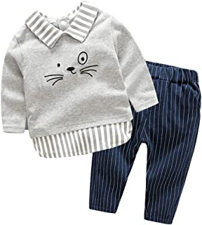 Fairy Baby 2Pcs Boys Outfit Set Casual Clothes Set Cartoon Tops Tee Shirt+Stripe Pant Set