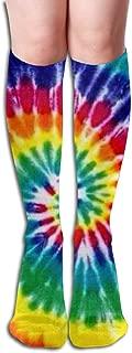 Rainbow Tie Dye Women's Knee High Socks Novelty Over-the-Calf Tube 19.7