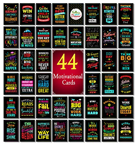 "Motivational Quote Cards | Business Card Size | Set of 44 Notecards for Motivation, Encouragement, Kindness, Mindfulness & Affirmation | 2"" x 3.5"" (Set 1)"