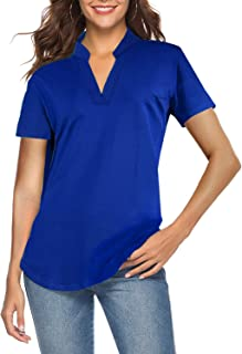 CEASIKERY Women's Short Sleeve V Neck Tops Casual Tunic Blouse Loose Shirt