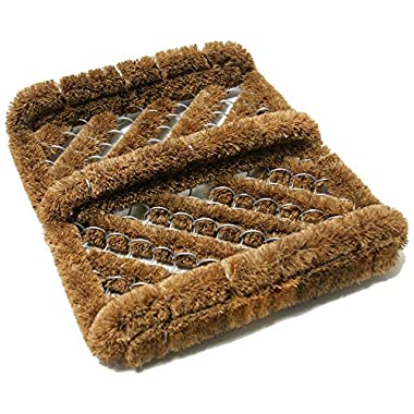 Rubber-Cal  Herringbone  Coir Boot Scraper Brush, 2.5 by 12 by 13-Inch
