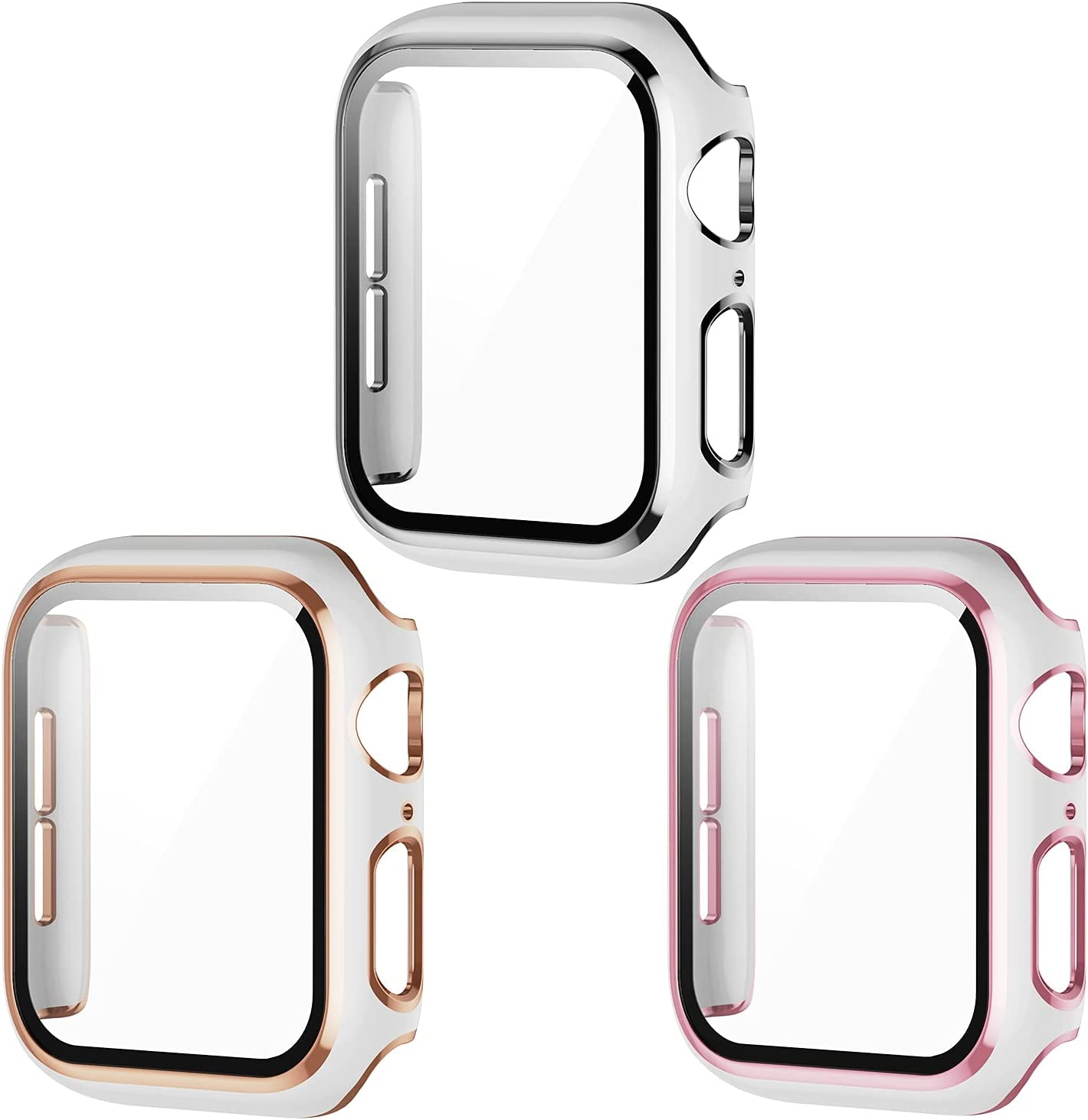 [3 Pack] AISIBY Case Compatible with Apple Watch Series 3/2/1 38mm Case with Tempered Glass Screen Protector Full Coverage HD Ultra-Thin Unbreakable Cover Compatible with iWatch 38mm(White Bumper)