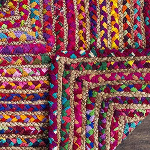 Safavieh Cape Cod Collection CAP202A Teppich, handgewebt, Jute und Baumwolle, 122 cm, quadratisch, Rot / Mehrfarbig - 2