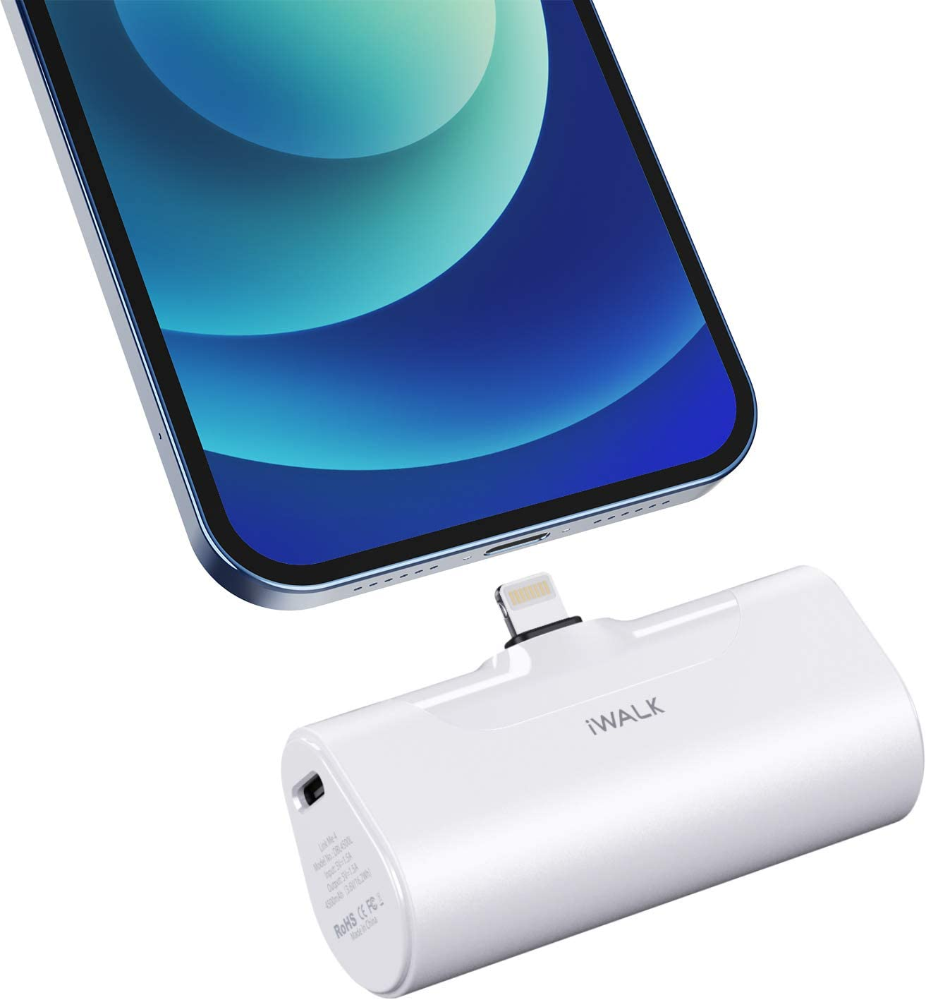 iWALK Small Power Bank 4500mAh Ultra-Compact Portable Charger Battery Pack Compatible with iPhone12 Mini/12/12 Pro/12 Pro Max/11 Pro/XS Max/XR/X and More