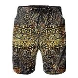 Olverz Bañador de playa para hombre, diseño de mandala de libélula de secado rápido con cordón y bolsillos, blanco, L