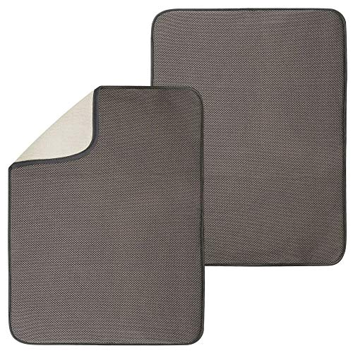 mDesign Ultra Absorbent Reversible Microfiber Dish Drying Mat and Protector for Kitchen Countertops, Sinks - Folds for Compact Storage - Extra Large, 2 Pack - Mocha Brown/Ivory
