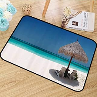 Coastal Decor Collection Area Rug Waterside Picture of Straw Parasol Umbrella and Sunbeds Azure Cruise Shoreline Image Print Anti-Static W47 x L71 Blue