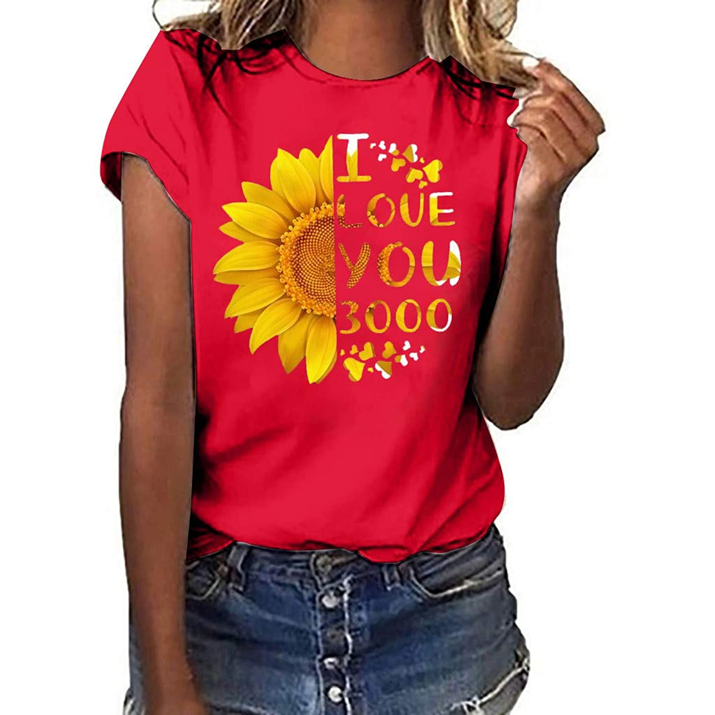 I Love You 3000 Women Blouse,Summer Women Casual Short Sleeve Solid Top Plus Size Print Shirt