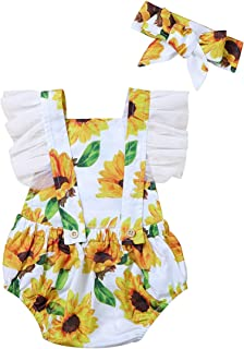 Baby Girl Clothes Floral Backless Romper Tassel Top + Dot...