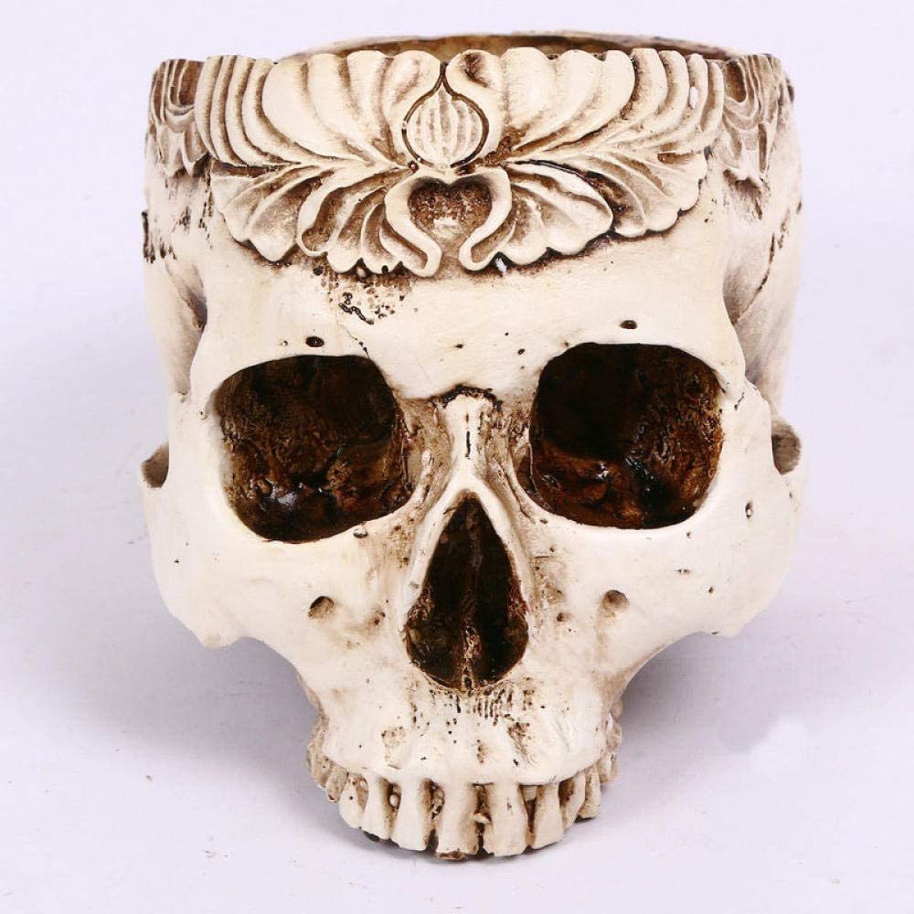 DXKHDYZ Statues Creative Resin Carving Today's only Pot Head Skull Hal Surprise price Flower