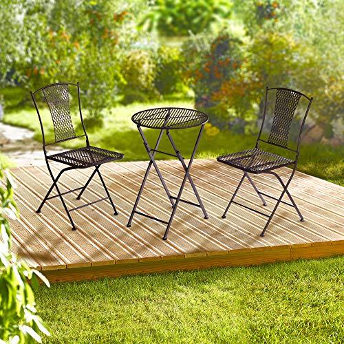 Cepewa Garten-Sitzgruppe 3tlg. │Metall braun Tisch und 2 Stühle │Gartenmöbel Bistrostil