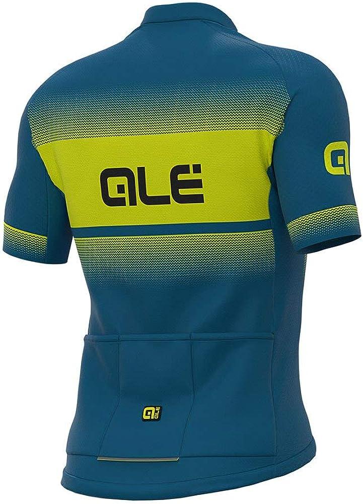 Al/é Cycling Solid Blend Kurzarm Trikot Herren Azure Blue//Fluo Yellow 2021 Radtrikot kurz/ärmlig