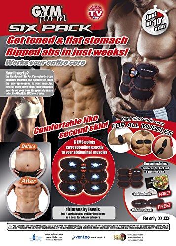 Gymform Musculation Abdominale 9448-Musculation Sixpack Adulte Unisexe, Noir, 8 Électrodes - avec Guide...