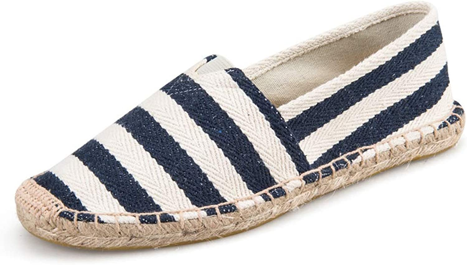 T-JULY Women's Canvas Flats shoes Striped 2018 Fashion Espadrilles Slip-On Flat Breathable Summer Casual Loafers