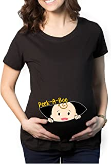 YaYa cafe Mothers Day Peek a Boo Baby Women's Pregnancy Maternity T-Shirt Top Tee Round Neck Half Sleeves