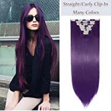 17-26 Inches 145G Long Straight Curly Clip In On Hair Extensions Synthetic 8 PCS 18 Clips Thick Full Head Hair Pieces Colorful Highlight Ombre For Women (26''-Straight,dark purple)