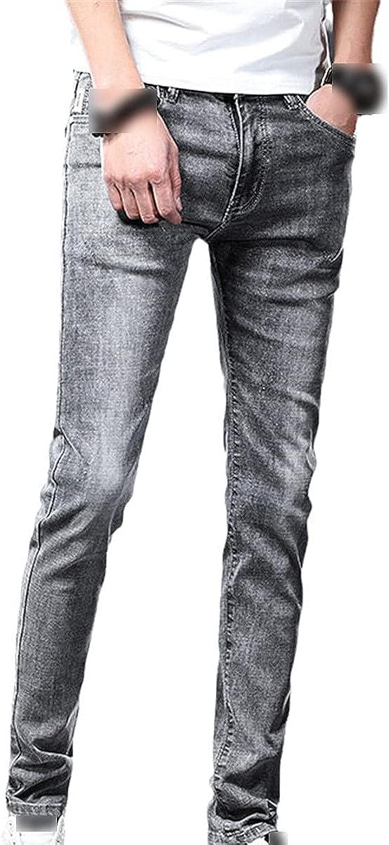 CACLSL Skinny Jeans Men's Slim Denim Jogging Stretch Pencil Pants Blue Fashion Casual