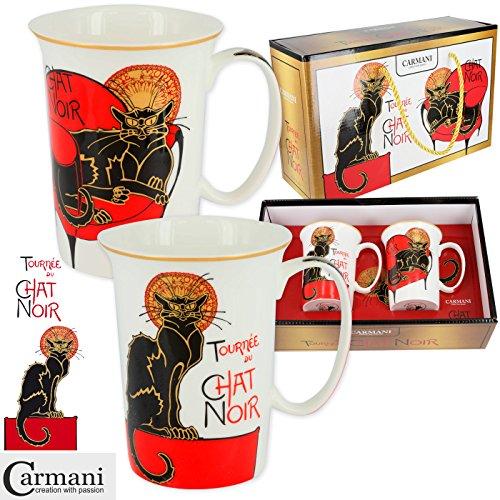 CARMANI - Chic tasse de thé lot de 2 avec motif 'Chat Noir' 350 ml