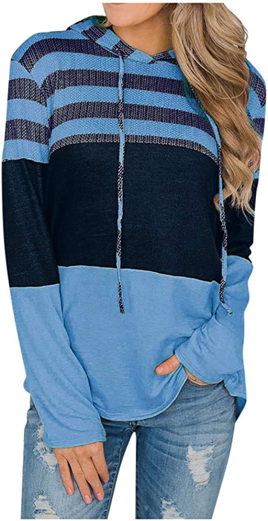 Hoodies for Women Pullover Long Sleeve Striped Color Block Casual Loose Patchwork Pullover Sweatshirt Knit Top