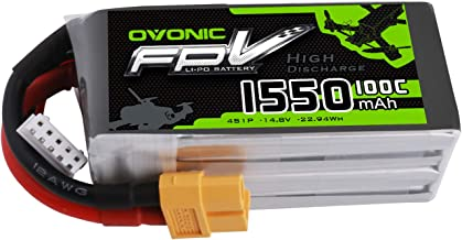 Ovonic 14.8V 1550mAh 100C 4S LiPo Battery Pack with XT60 Plug for FPV Racing RC Quadcopter Helicopter Airplane Multi-Motor Hobby DIY Parts
