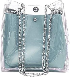 Wultia - Women Small Bucket Bags Plastic Transparent Totes Composite Chain Bag Female Mini Jelly Handbags Bolsa Feminina Blue