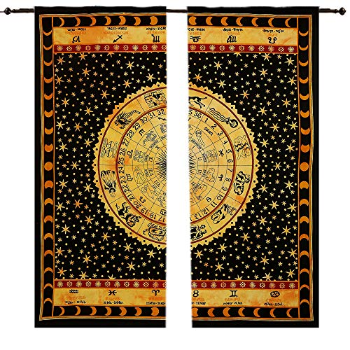 Astrology Mandala-Wandteppich, großer Wandbehang, Hippie-Fenster-Vorhang, Querbehang, Raumteiler, 2-teiliges Paneel-Set, große Fensterabdeckung, elegante Vorhänge, Fenster-Wandbehang