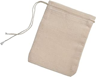 Cotton Muslin Bags 100 Count (2.75 x 3.75 inches) Natural Drawstring, made with 100% cotton in the USA by Celestial Gifts