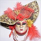 Máscaras venecianas romanas griegas máscara máscara disfraz de Halloween vestido de fiesta decoración suministros máscara con personalidad Carnaval maquillaje (rojo)