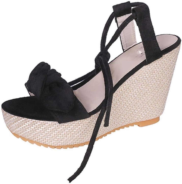 HuangKang Women's Summer Platform Sandals Women's Bow Waterproof High Heel Wedges Women's Sexy Wedge Sandals