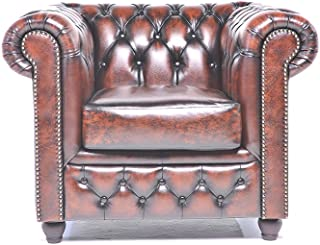Original Chesterfield Chair - 1 Seater - Full Real Hand Washed Leather - Antique Brown