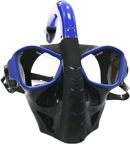 Snfgoij Masque De Plongée Masque Et Tuba Masque Complet Masque Anti-buée pour Adultes Masque De Plongée Anti-buée Verre Trempé