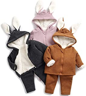 Curipeer Unisex Baby Winter Hoodie Outfit Boys Girls Solid Color Warm Zip Up Outerwear Coat Tops + Pants Set