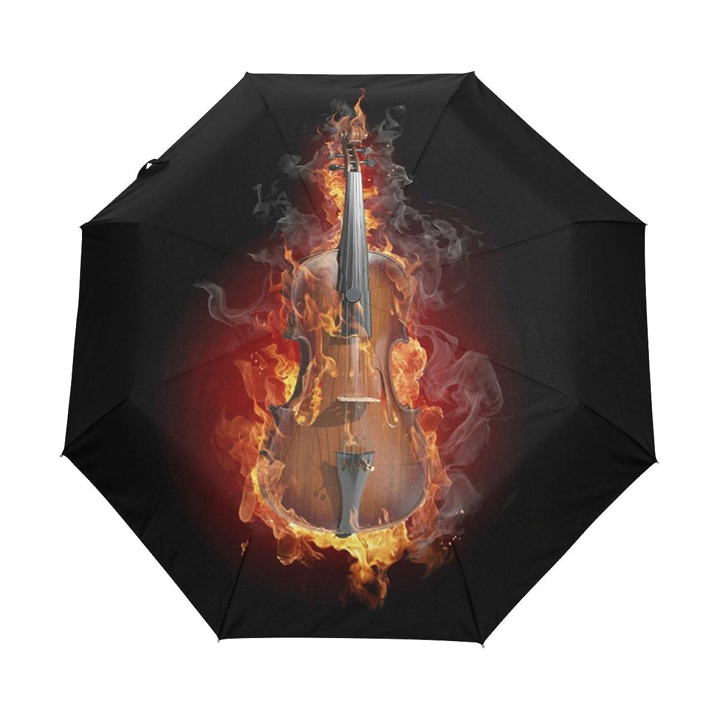 Ethel Ernest Burning Violin Folding Windproof Umbrella Waterproof Auto Foldable Umbrella