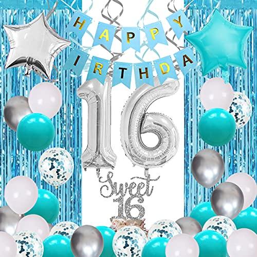 Decoraciones de cumpleaños para 16 años de color turquesa turquesa con globos de 16 años de edad con confeti azul número 16 para decoración de tartas