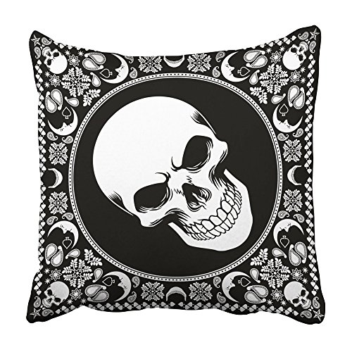Emvency Throw Pillow Covers 20x20 Inch Decorative Square Cushion Black Scarf Bandana Pattern with Skull White Mask Paisley Shawl Half Floral Silk Two Sides Print Pillowcase for Bed Chair Sofa