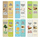 Creanoso Funny Bread Puns Bookmarks (12-Pack) - Stocking Stuffers Premium Quality Gift Ideas for Children, Teens, & Adults - Corporate Giveaways & Party Favors