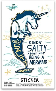 """Primitives by Kathy Kinda' Salty About Not Being A Mermaid Unicorn Vinyl Sticker 2.25"""" x 3.50"""""""