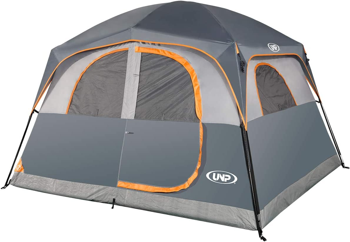 UNP Tents 6 Person Waterproof Windproof Easy Setup,Double Layer Family Camping Tent with 1 Mesh Door & 5 Large Mesh Windows -10'X9'X78in(H)