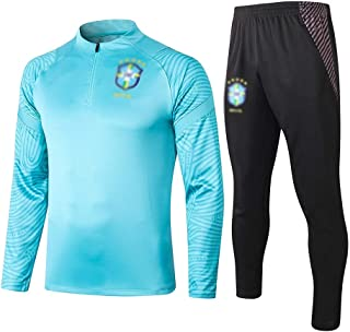 H.ZHOU 男性スポーツウェアスーツ フットボールクラブトレーニングスーツジムアウトドアスポーツメンズハーフプルジャージースーツ(トップス+パンツ)-A0108 L-2021041 (Size : S)