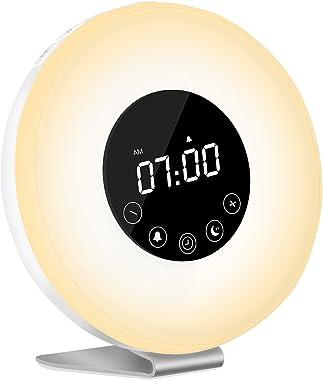 Radio Réveil Lumineux, AUELEK Eveil Lumière LED Radio Réveil de Chevet Réveil Lumière LED Tactile Contrôle Sunrise, Sunset, S